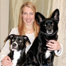 Dr. Ilse Dedden with two dogs