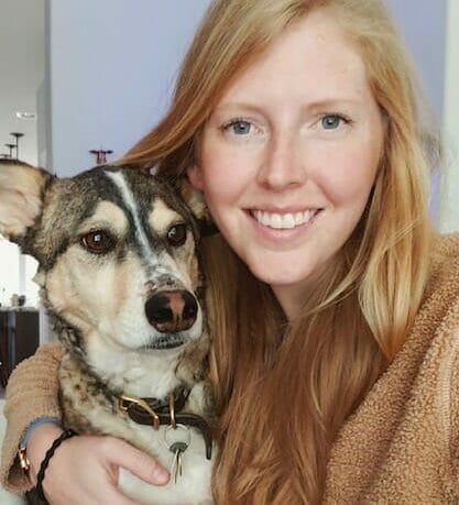 Dr. Jamie Neufeld with a dog